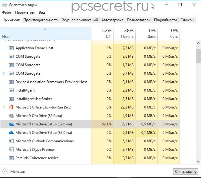 Процесс Microsoft OneDrive Setup нагружает процессор компьютера