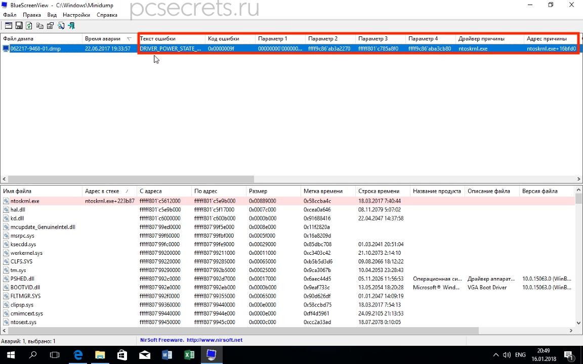 Анализ дампа памяти с помощью BlueScreenView