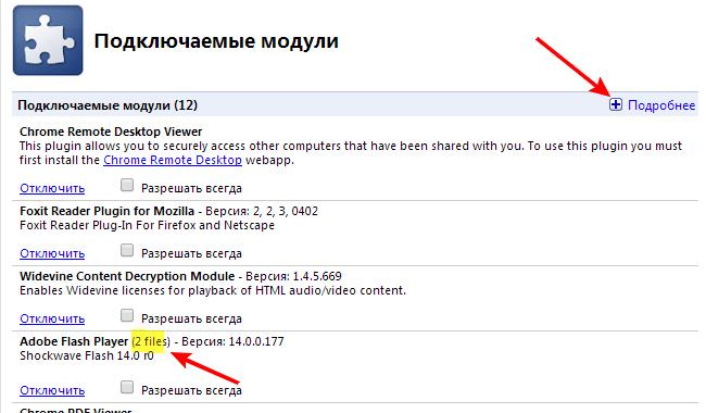 Модули в Google Chrome