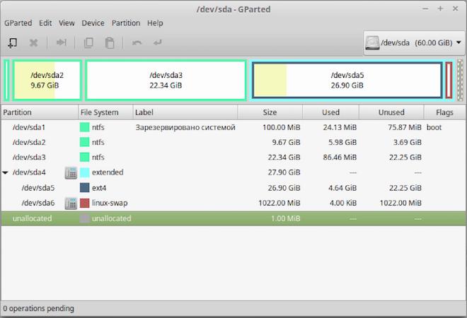 Разделы Linux и Windows в  GParted