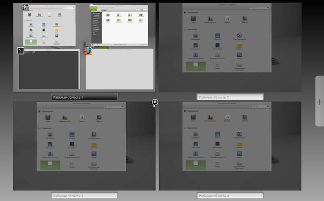 Режим экспозиции рабочих областей Linux Mint