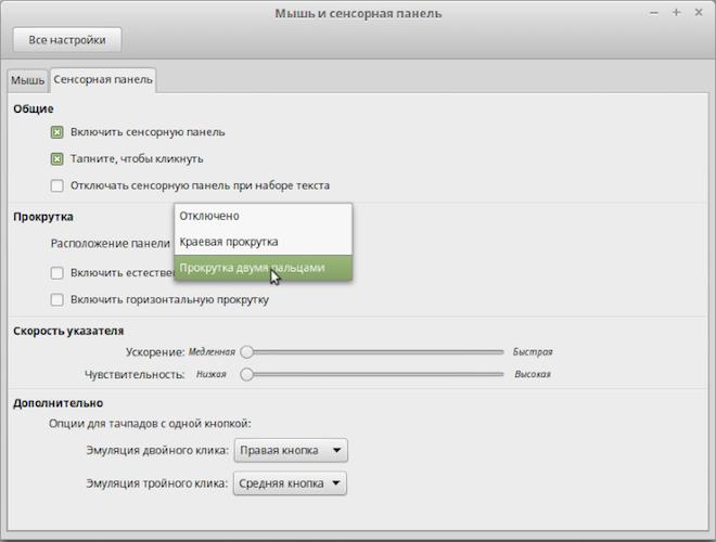 Настройка тачпада в Линукс