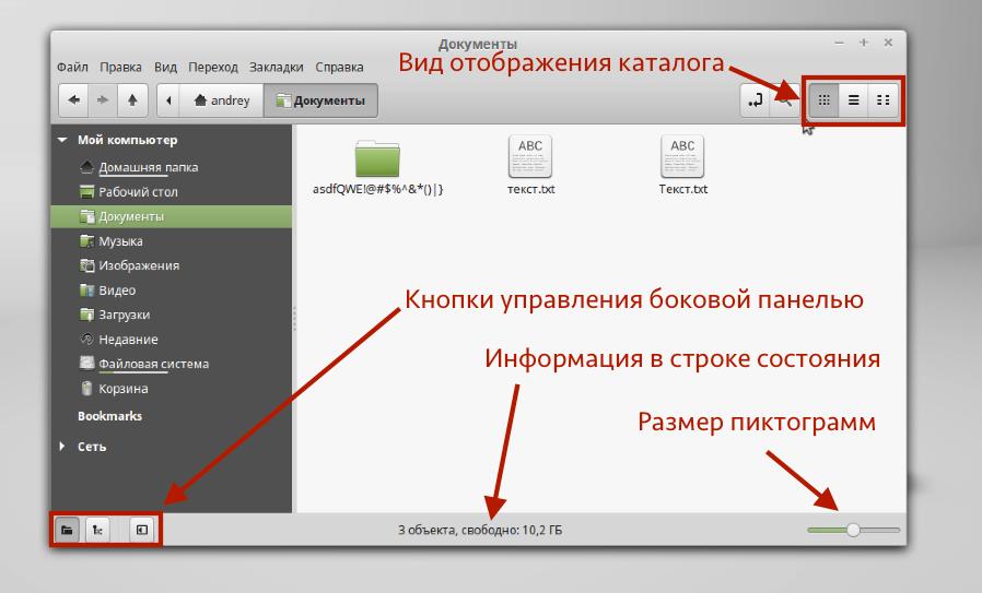 Интерфейс файлового менеджера Nemo в Linux