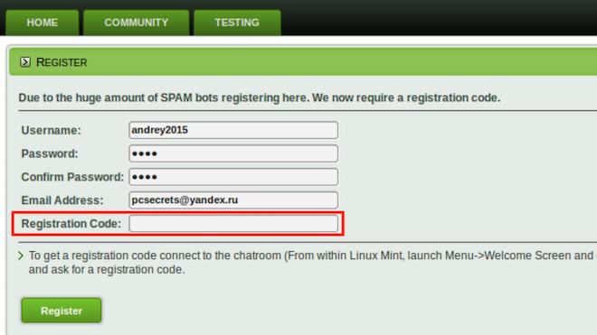 Регистрация в сообществе Линукс Минт