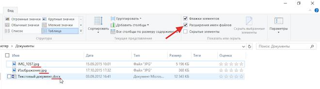 Отобразить расширение файлов