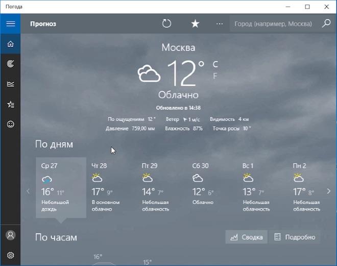 Погода Windows программа