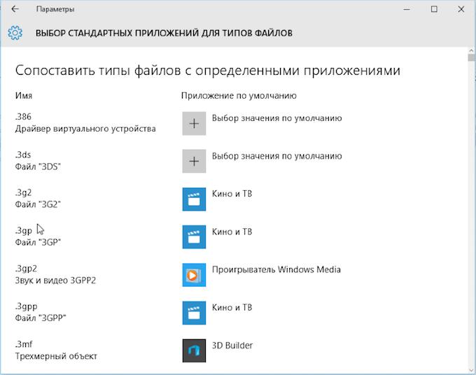 Выбор приложение по расширению файла