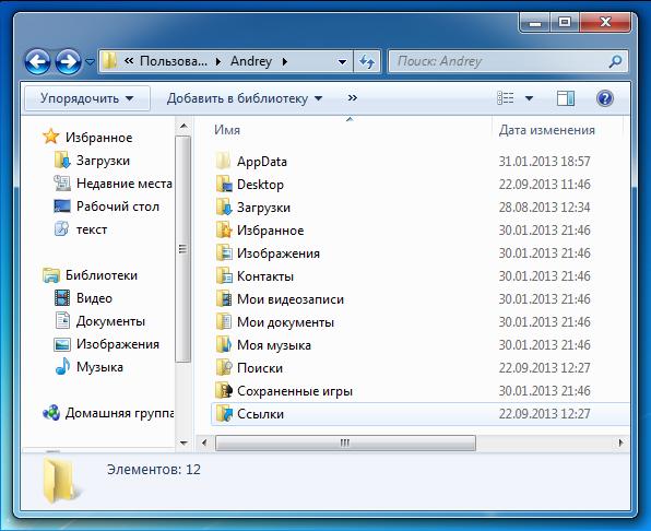 Основные папки профиля Windows 7