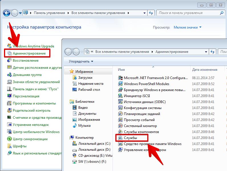 Панель управления. Службы Windows
