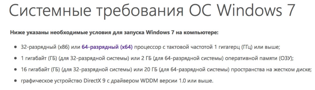 Системные требования Windows 7